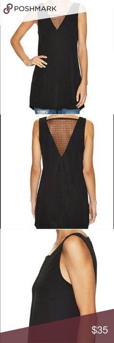Nwt French Connection Mona Spot Dot Top SLEEVELESS LONG TOP BY FRENCH CONNECTION, FEATURING SHEER SPOTTED MATERIAL TO FRONT AND ON LOW CUT BACK.  - V-NECKLINE  - DRAPE DETAILING TO BACK Tops Tunics