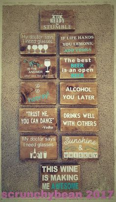 These mini bar/funny alcohol quote signs are 3 x 5 you can choose the colors of the letters. the wood is stained in a walnut or grey finish, Diy Wood Signs, Painted Wood Signs, Pallet Signs, Primitive Wood Signs, Diy Pallet Projects, Wood Projects, Woodworking Projects, Woodworking Lamp, Woodworking Quotes
