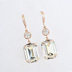df62e527d Handmade Swarovski Emerald Cut Crystal & CZ Rose Gold Earrings  (Sparkle-2422-U) #Handmade