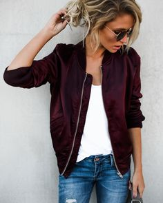 #fall #outfits top red bomber jacket jeans