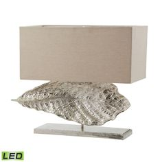 Wide Leaf LED Table Lamp in Nickel With Natural Linen Shade 468-030-LED