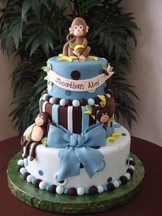 Monkey boy baby shower cake — Baby Shower