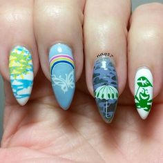 April Showers nail art design 4/22/2015