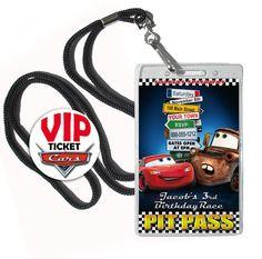 Cars Birthday invitation 25 VIP badge / pass by FancyThisParty, $42.50