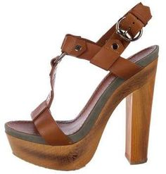 Russet leather Gucci platform sandals with round-toes, silver-tone hardware featuring T-strap, grey suede trim at insoles, wood heels and slingback at ankles featuring buckle closure. Platform High Heels, High Heel Boots, Sexy Heels, Pumps Heels, Heeled Clogs, Gucci Brand, Sailor Fashion, Flip Flop Shoes, Future Fashion