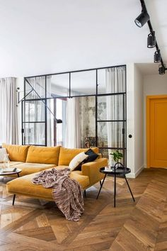 parquet and crittall window partition with mustard soft