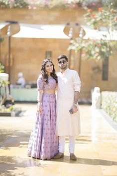 Kreshas sister Karyna in a lavender lehenga with bugs embroidered on it standing with her brother Krysh in a beige kurta The Bride, Bride Groom, Wedding Bride, Farm Wedding, Wedding Attire, Wedding Couples, Boho Wedding, Wedding Reception, Pakistani Bridal
