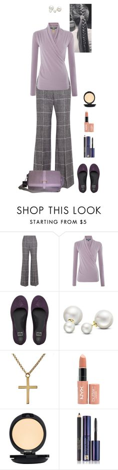 """purple wrap blouse and slacks (Orla)"" by shulabond ❤ liked on Polyvore featuring Calvin Klein Collection, Lauren Ralph Lauren, FitFlop, Allurez, Kiki Minchin, NYX, MÃ«naji, Estée Lauder and Cole Haan"