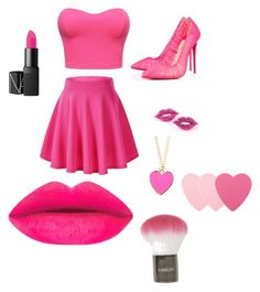 """""""Pretty in P!NK"""" by stylebylexie13 ❤ liked on Polyvore featuring beleza, Christian Louboutin, Sephora Collection e Topshop"""