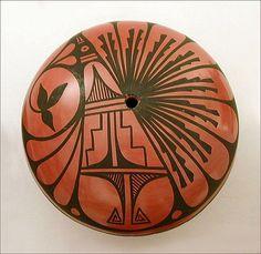 Chinana Jemez Pottery Seed Pot Graphic Peacock Large Native American