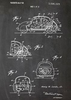 Volkswagen, VW Käfer, Patent, vintage, Druck, A4 von patente-kunst auf DaWanda.com