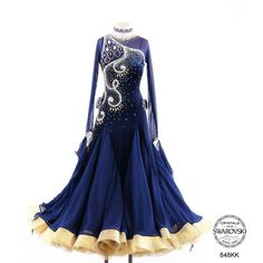 Two-tone gold and blue Ballroom Costumes, Latin Ballroom Dresses, Ballroom Dance Dresses, Latin Dresses, Ballroom Dancing, Dance Costumes, Pretty Dresses, Beautiful Dresses, Diy Vetement