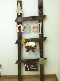 Christmas Craft Projects | The new Christmas Ladder Kit comes with the unfinished wood and vinyl ...