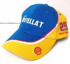bcc94abc6ae KEVIN HARVICK SHELL ROTELLA T NASCAR HAT Blue Yellow Racing  29 Oil  Gasoline Men