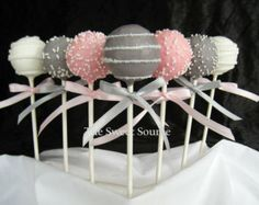 Cake Pops: Pink and Gray Baby Shower Cake Pops made with High Quality Ingredients