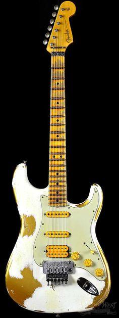 Fender 1960 Stratocaster White Lightning Faded HLE Gold w/ Floyd Rose