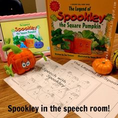 #Spookley is visiting the speech room this week! Head over to my blog for a Spookley freebie to go with the book! #ashaigers #speechpathology #slpeeps #Halloweeninthespeechroom #Padgram