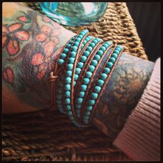 A gorgeous turquoise and tan wrap bracelet. #bracelet #wrapbracelet #turquoise #beads #leather www.facebook.com/somethingalittlebitdiffeRnt