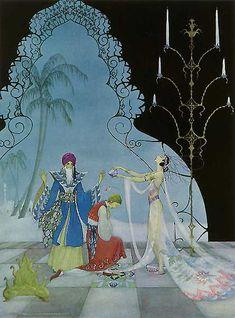 The damsel restored his form. Virginia Frances Sterrett art: Arabian Nights  via artsycraftsy where the artwork is for sale