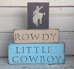 N U R S E R Y // Cowboy Nursery Blocks little boys nursery horses room decor western