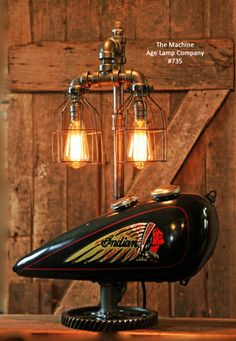 Steampunk Tank Lamp Vintage c1930 Chief Motorcycle  Gas Tank - #735