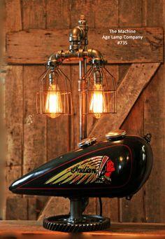 Steampunk Tank Lamp Vintage c1930 Chief Motorcycle  Gas Tank - #735