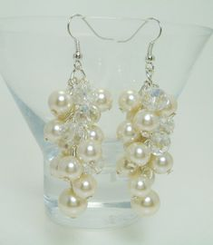 Pearl Cluster Earrings  Ivory/Offwhite pearls with by Eienblue, $10.00