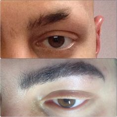 Creating a naturally looking male eyebrows. My recent before&after #Eyebrowextensions on a man. 1step - tint, 2nd step - brow extensions. #montreal #ekaterinaulyanoff #makingpeoplehappy