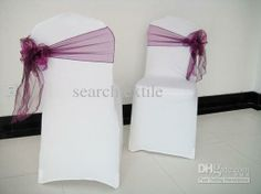 Cheap Cover - Best White Spandex Lycra Chair Covers Purple Organza Chair Sashes Tie. This is so cute and different.
