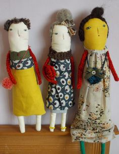 Three new dolls, handmade by me. This one is called Kate and is the largest of them all.. made from cotton, handstitched legs, clothes and legs.
