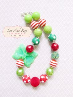 Holiday Christmas Bow Chunky Bubble Gum Necklace - Photo Prop Fashion Accessory