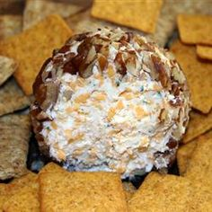 """another pinner says: Easy cheese ball (""""secret"""" ingredient: ranch dressing mix). THE most requested (more like demanded) item for gatherings. Finger Food Appetizers, Appetizer Recipes, Crackers Appetizers, Snack Recipes, Cheese Ball Recipes, Ham And Cheese Ball Recipe, Little Lunch, Tasty, Yummy Food"""