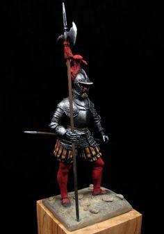 Sargeant of the Spanish Tercios in the Battle of Pavía (1525) - esculpted by Antonio Zapatero Guardini, painted by Juan Francisco Estevez Piriz. (http://www.alabarda.net/blog/pintura/sgto-de-los-tercios-pavia-1525/)