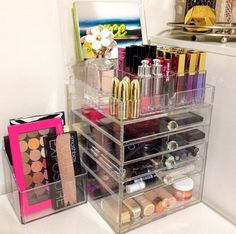 The Beauty Cube with Crystal Knobs . Acrylic makeup organizer. Clear makeup Storage. www.beautycubes.com
