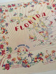 Vintage Florida tablecloth flamingos palm trees by 3floridagirls