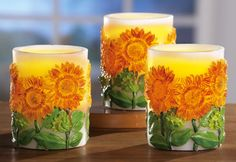 Sunflower Flameless Candle Set