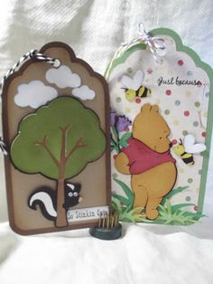 shellys card blog: paper playtime tag time using Cricut Pooh and Friends and Campin Critters