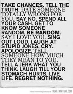 List to Memorize - 'be random' - words to live by!