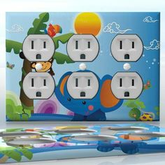 DIY Do It Yourself Home Decor - Easy to apply wall plate wraps | Fun in the Sun #2  Elephant, monkey and toucan with a palm tree  wallplate skin sticker for 3 Gang Wall Socket Duplex Receptacle | On SALE now only $5.95