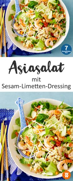 Asiasalat mit Sesam-Limetten-Dressing Asian salad with sesame-lime dressing Ww Recipes, Asian Recipes, Healthy Recipes, Ethnic Recipes, Vietnamese Recipes, Plats Weight Watchers, Weight Watchers Meals, Food N, Food And Drink