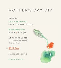 You're Invited: Anthropologie Mother's Day DIY The Everygirl Event Invitation Sand Crafts, Home Crafts, Invitation Card Design, Invitations, Parenting Workshop, Parenting Plan, Graphic Design Fonts, Workshop Design, Mother's Day Diy