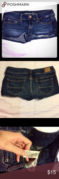 AMERICAN EAGLE SHORTS size 0 Cute shorts but too small for me. Dark wash. American Eagle Outfitters Shorts Jean Shorts