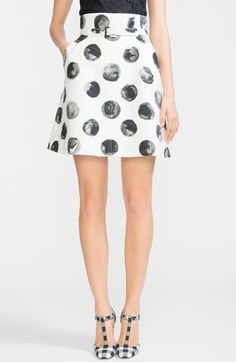 Dolce&Gabbana+Dot+Print+Cotton+A-Line+Skirt+available+at+#Nordstrom