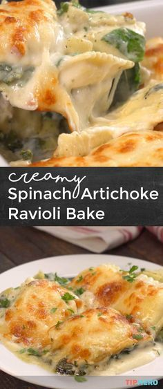 Creamy Spinach Artichoke Ravioli Bake - Susan for Food Italian Dishes, Italian Recipes, Italian Desserts, Vegetarian Recipes, Cooking Recipes, Healthy Recipes, Pasta Dishes, Food Dishes, Ravioli Bake