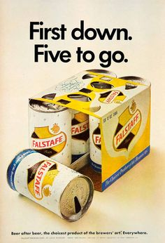1967 Ad Vintage Falstaff Beer Can Six Pack 6-Pack Brewery St. Louis Missouri