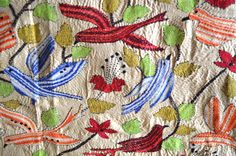 Surrealz Kantha artwork Bedspread Made in silk with intricate embroidered patterns and colours, Handmade Handcrafted  red blue  white orange green Bedroom soft furnishing