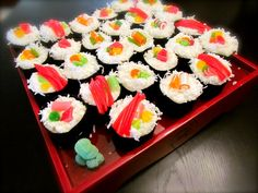 sushi cupcakes- also saw idea to use green fruit roll ups for seaweed wrap  kinda funny...