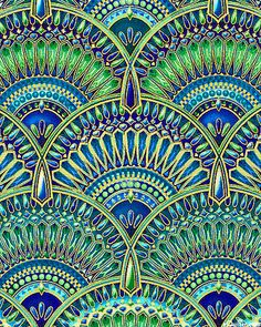 Peggy Toole - Lumina - Jewel Encrusted Fans - Quilt Fabrics from… Peacock Quilt, Peacock Colors, Peacock Art, Peacock Fabric, Green Peacock, Peacock Feathers, Textile Patterns, Textile Design, Print Patterns