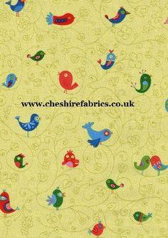 """How Tweet"" co-ordinate in Celery   100% Cotton 112cm Wide   www.cheshirefabrics.co.uk£6.20 / 0.5m"