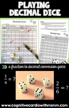 Math games 298856125268289217 - Decimal Dice is a great math game to help your students practice converting fractions to decimals. Upper elementary and middle school students love this game – it's fun and it makes them think! Source by midschoolmath Middle School Activities, School Fun, Summer School, School Days, High School, Fun Math Games, Math Activities, Dice Games, 6th Grade Math Games